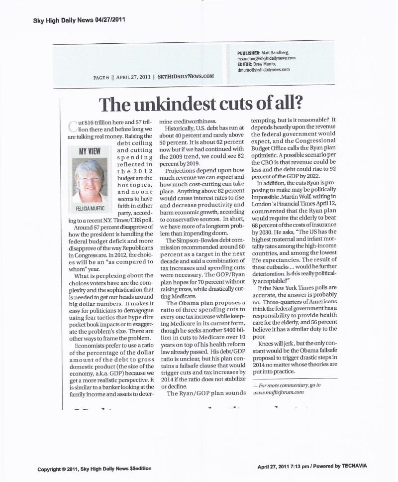 From the print edition: 4 27 2011 column Debt vs the GDP